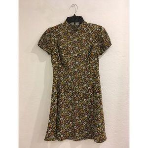 Olive floral mock neck dress